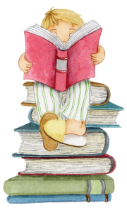niño sobre montaña de libros