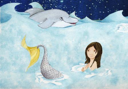 sirena y delfín Red